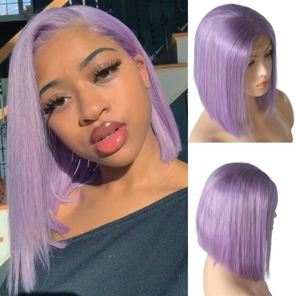10A Virgin Human Hair Blunt cut Pre-plucked Light Purple Full lace wig #PURPLE Short Cut Bob Lace Front Wigs