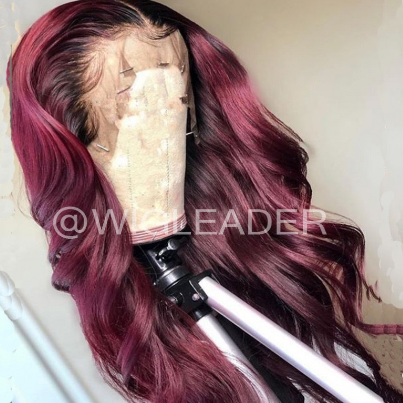 Wig Leader Swiss Lace 1b/99j Ombre Glueless Wavy Full Lace Wigs Two Toned Coklor 13x4 Lace Frontal Wig Pre Plucked