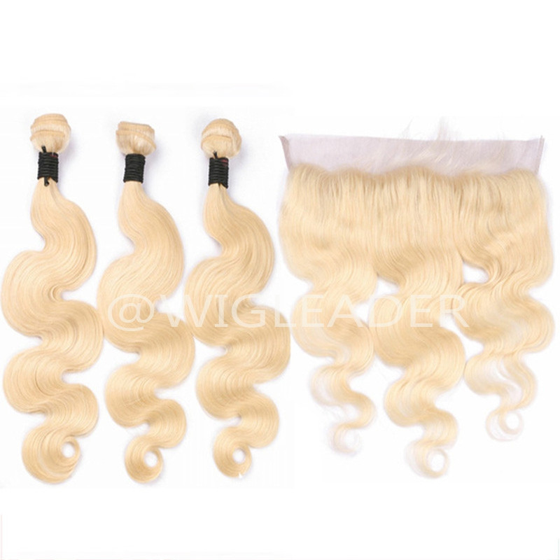 Pure  blonde Body wave Hair Wefts 3 Bundle with 13*4 Ear to Ear pre plucked Lace Frontal Remy Blonde Human Hair