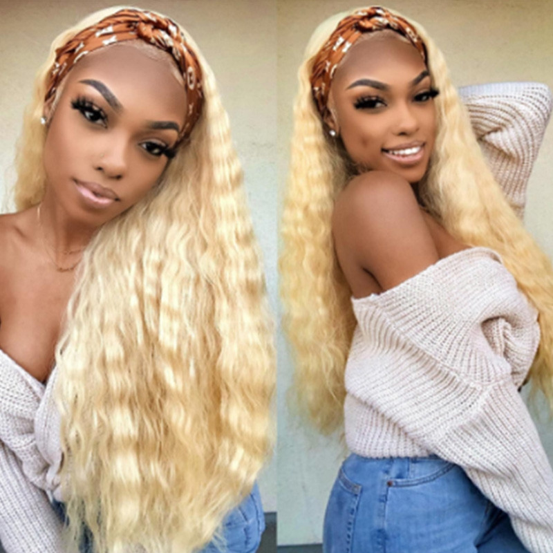 WigLeader Blonde Curly Full lace Wigs with Bangs 150% Density human Hair Lace Front Wigs Preplucked