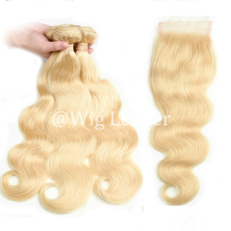 613#  Human Hair blonde Color body wave Hair bundles with 4*4 Lace Closure