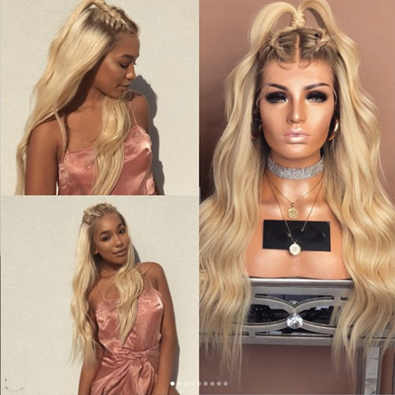 Best Quality dark root /#613 Ombre Ash Blonde Glueless Full lace Wigs Pre Plucked Long human Hair lace front Wigs with baby hair