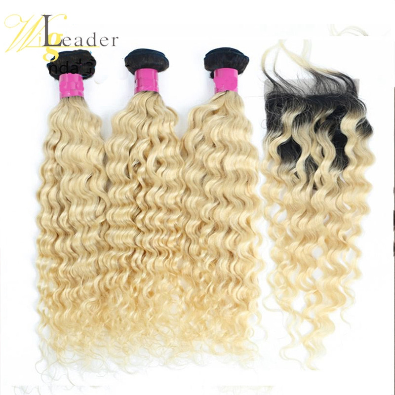1b/613# Ombre Curly Human Hair blonde Color 3 Pcs Hair BundlesPeruvian Hair bundles with 4*4 Lace Closure
