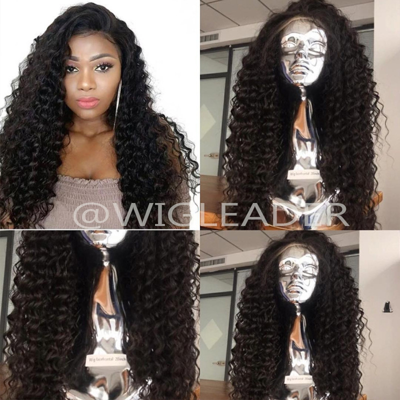 Deep curly Brazilian Virgin Human Hair Curly Natural color Bleached Knots Pre-plucked 13x4 Lace front Wigs