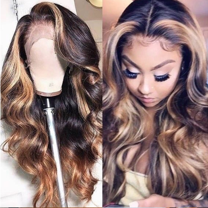 Wave Highligt Front Color Ombre Pre Plucked Full lace Wigs HD Transparent Lace 180% Density Glueless Lace Front Wigs