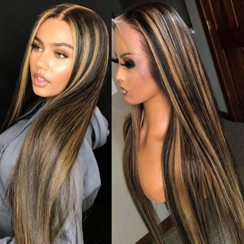 Highlight Color Pre Plucked Full lace Wigs Transparent Swiss Lace 180% Density Glueless Lace Frontal Wigs