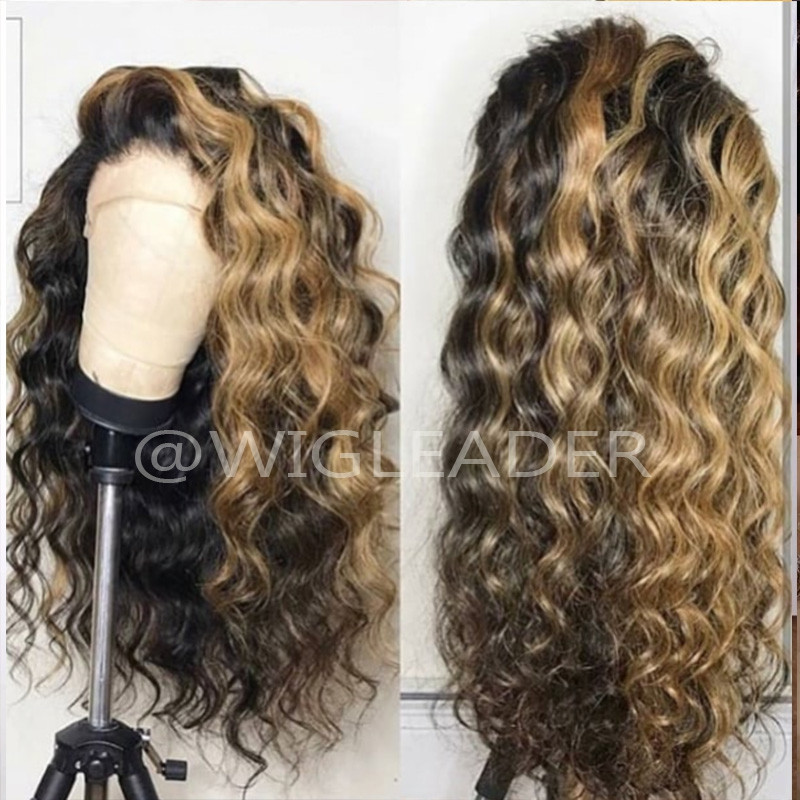 1bwith brown Highlights 10A Loose Wave Human Hair Lace Front Wigs  color Full Lace Wigs for Women