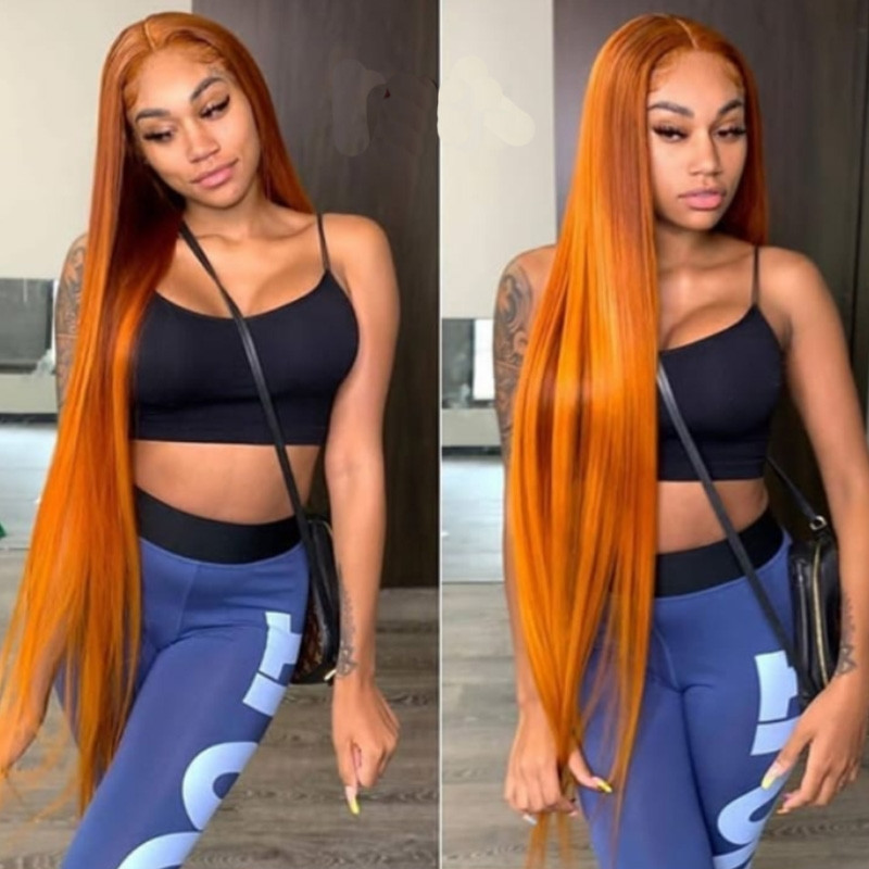 WigLeader Straight Orange Color Full lace Wigs 150% Density human Hair wave Lace Front Wigs