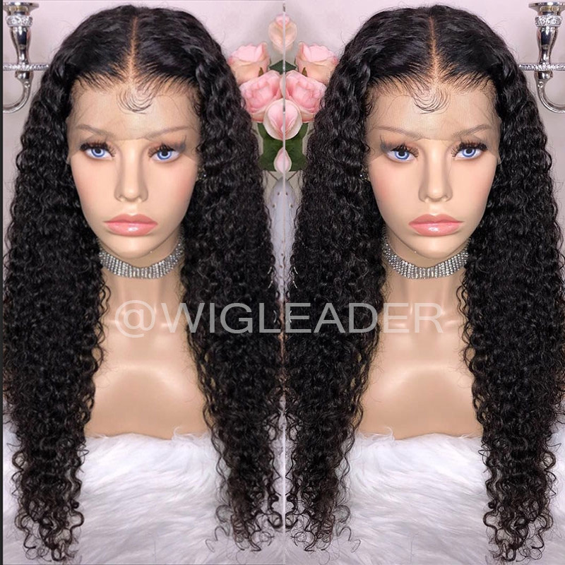 Wig Leader 180% Curly Lace front wig Pre Plucked Glueless Full Lace Wigs Bleached Knots Wigs