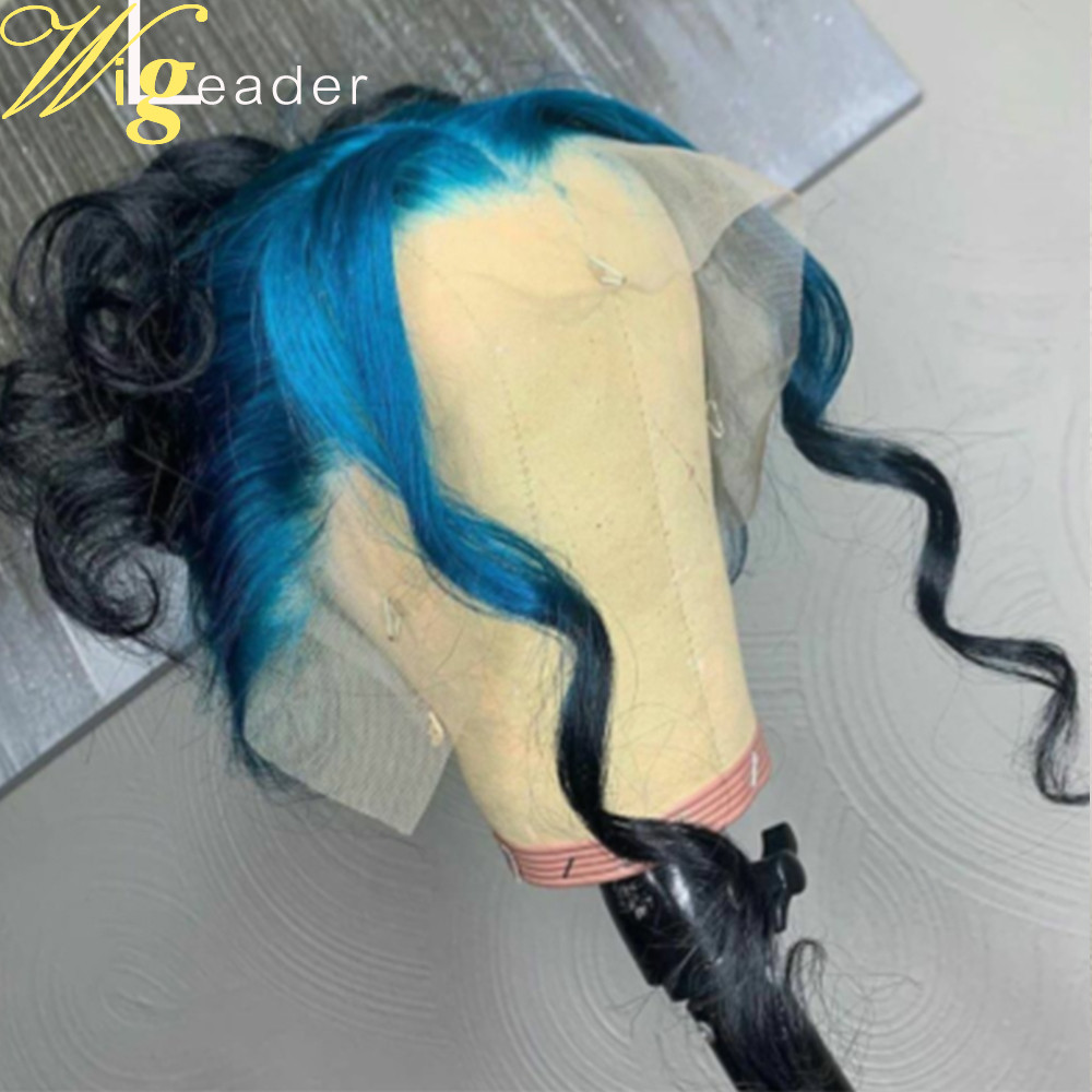 Dark Root Ombre Wave 24 inch Lace Frontal Wigs ombre Blue to Black Full lace Wigs Two toned 180% Density human Hair lace front Wigs