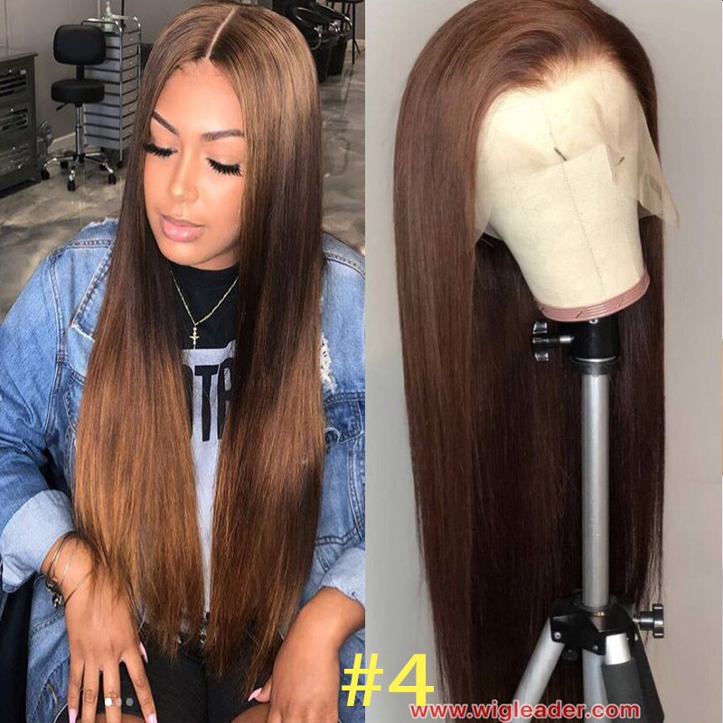 brown #4 Silky Sraight 13x6 Lace Front Wigs Human Hair Glueless Lace Wigs Pre-plucked Hairline Full lace bleached knots