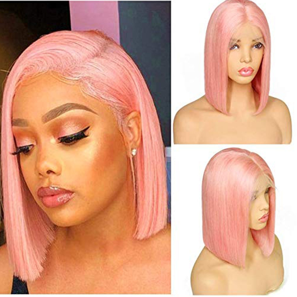 Blunt Bob Cut Human Hair Glueless Lace Front Wigs Pink Color Pre Plucked Full Lace Wigs