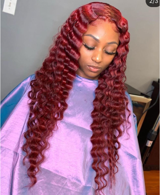 Peruvian Remy Hair Deep Wave Red Color Pre Plucked Ponytail Full lace wig Bleached knots Glueless Lace wig With Baby Hair