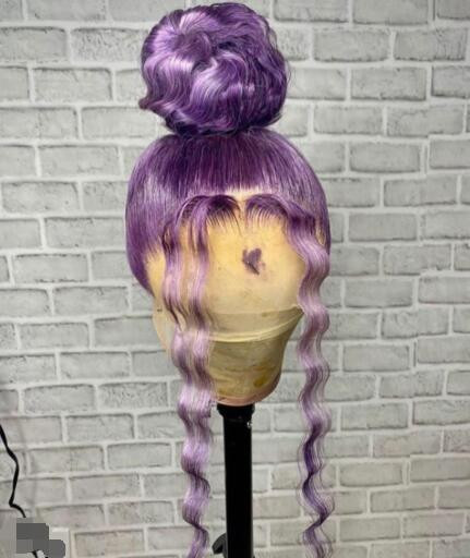 New Coming loose Wave 26 inch Light purple Full lace Wigs Preplcuked Swiss Lace human Hair Lace Front Wig with baby hair