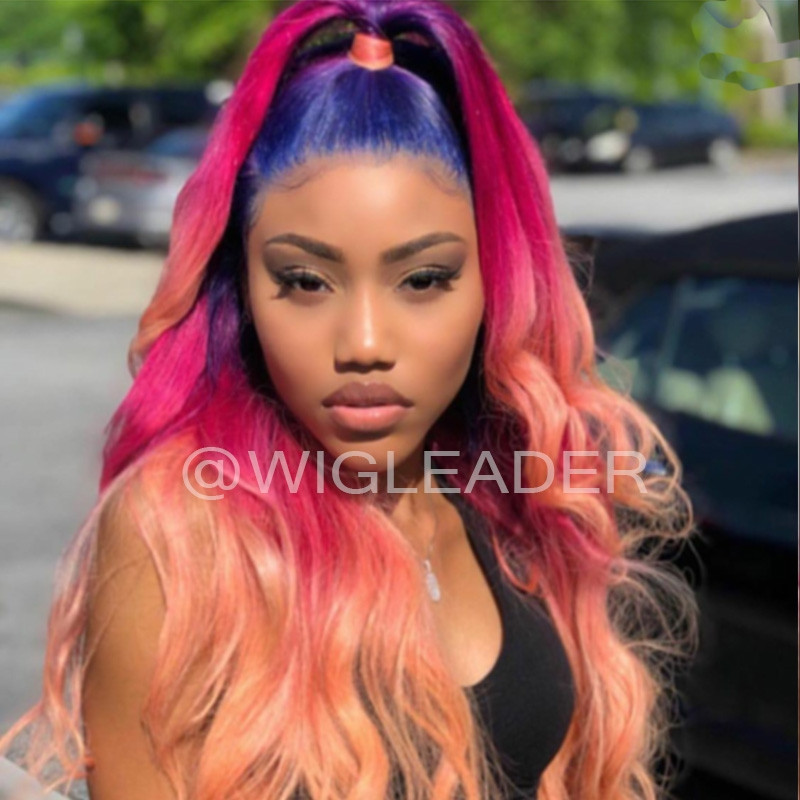 Fashion Rainow Glueless Lace Front Wigs Wavy Colorful 180% densaity human Hair Pre Plucked Full Lace Wigs Bleached Knots
