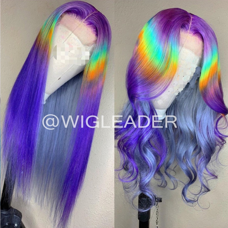 Wigleader Rainow Glueless Lace Wigs Loose Wave colorful 180% densaity human Hair Pre Plucked Full Lace Wigs for Womens
