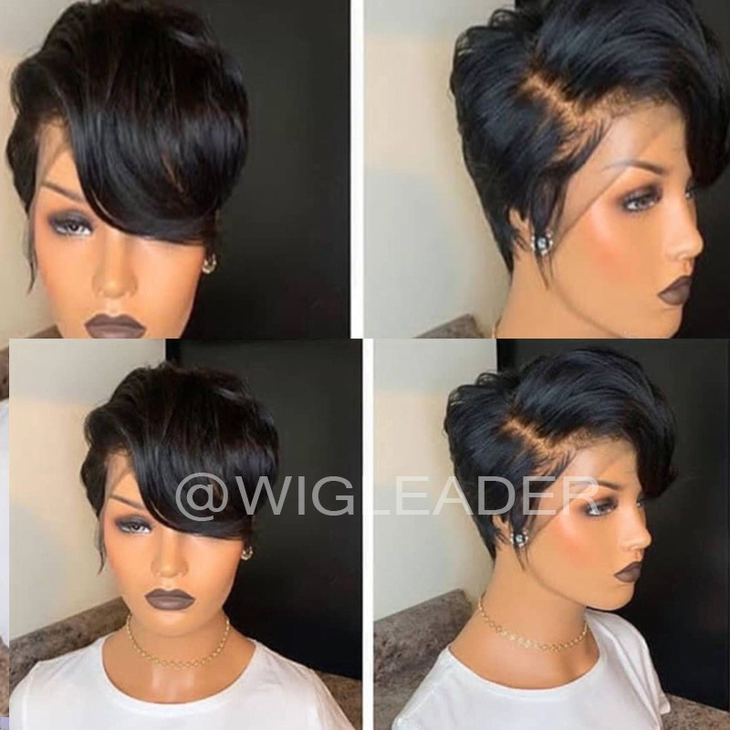 WigLeader Short Hair Cut 150% density Lace Front Human Hair Wigs Pre Plucked Full Lace Wigs with baby hair Bleached Knots