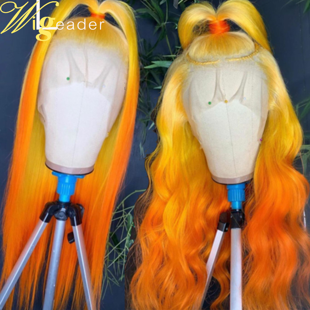 150% Density Full Lace Wig Ombre Human Hair Lace Front Wig Wave Bleached Knots Glueless13x6 Lace Front Wig straight Pre-plucked