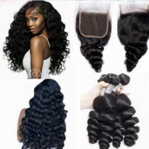 10A Malaysian Human Hair Loose Wave Hair Weaving 3 pcs Hair Bundles with 4x4 Lace Closure Free Part ship within 24 hours