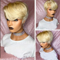 WigLeader Hot #613 Summer Wig Pixie Cut Full lace Wigs HD Swiss Lace 150% Density Blonde human Hair Lace Front Wigs