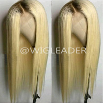 4/#613 Ombre Blonde 13x6 deep parting Lace wig Brazilian virgin Human Hair Bleached Knots Pre-plucked Full lace wigs