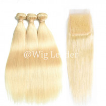 10A Brazilian remy Human Hair 613 blonde Color Hair Wefts 3 Bundle with 4*4 Lace Closure overlight delivery