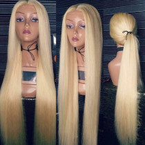 #613 Straight 26 inch Long Blonde Full lace Wigs 180% Density human Hair lace front Wig with baby hair