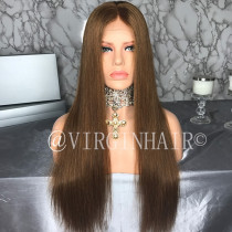 Wig Leader Hot Chestnut Brown #6 Glueless Full Lace Wigs 180% Density Pre Plucked Swiss Lace 13x4 Lace Frontal Wig