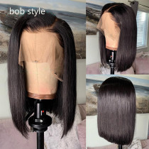 middle parting 180% Short Bob Lace front Wigs Pre Plucked Bleached Knots human Hair wig with baby hair