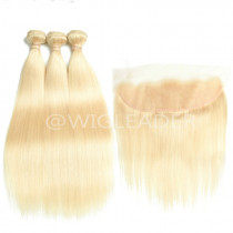10A 613# blonde  Hair Wefts 3 Bundle with 13*4 Ear to Ear Straight pre plucked Lace Frontal Brazilian Blonde Human Hair