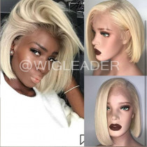 WigLeader 613# Blonde 10inch Blunt Cut Full lace Wigs Swiss Lace 150% Density human Hair Bob Lace Front Wigs Bleached Knots