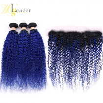 10A Ombre Color 1B/Blue Tight Curly Human Hair Wefts 3 Bundle with 13*4 Ear to Ear Straight Lace Frontal European Human Hair