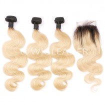Brazilian Remy Human Hair Ombre Blonde Hair 3 Bundles With 4x4 Lace Closure 1B/613 Body Wave Color Hair Wefts