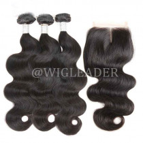 10A Human hair Body Wave Hair Bundles with 4x4 lace closures on sales