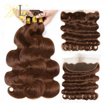 10A Grade #4 Light Brown Hair Wefts 3 Bundle with 13*4 Ear to Ear Lace Frontal Human Hair Peruvian Hair Body Wave