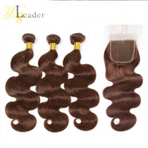 #4 Brown Body Wave Virgin Human Hair 3 Bundles hair weft with 4x4 Lace Closure Free Part Human Hair from WigLeader