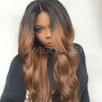 Pre-plucked Full Lace Wig Two toned Color Wavy 150% Density Human Hair Glueless Lace Front Wigs  Bleached Knots