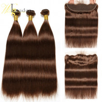10A Peruvian Hair Straight Grade #4 Light Brown Hair Wefts 3 Bundle with 13*4 Ear to Ear Lace Frontal Human Hair
