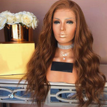 #Brown Full Lace Wig Wavy 150% Density Human Hair Bleached Knots Glueless Lace Front Wigs Pre-plucked