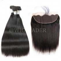 10A Unprocessed Natural Color Hair Wefts 3 Bundle with 13*4 Ear to Ear Malaysian Straight Lace Frontal Human Hair 24 hours shipping