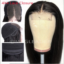 4*4 Lace Closure Human Hair Wigs Pre Plucked Bleached Knots Short Bob Brazilian Remy Hair For Women Black Full End