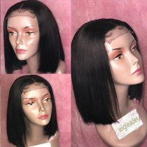 10A bob Pre Plucked Human Hair Lace front Wigs  Silky Straight Closure Lace Front Human Hair Wigs bleached knots