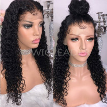 360 Wigs Pre-plucked Black color Free Parting 150% Density Human Hair Glueless Lace Front Wigs Bleached Knots
