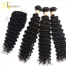 10A Deep Wave Human Hair Wefts 3 Bundles with 4x4 Lace Closure Free Part for black women