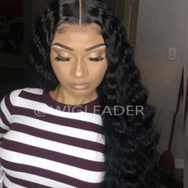 Deep wave 13x6 Lace wigs Peruvian remy Pre Plucked Full lace wig Bleached knots Glueless 360 Lace wig With Baby Hair