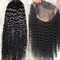10A Deep Curly 180% Density Lace Front Wigs Human Hair Black Pre-plucked Hairline GluelessFull lace wig bleached knots