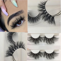 3D Mink Eyelashes 25mm Fuax Natural False Eyelashes Fluffy Fake Eyelashes Dramatic Look Eyelashes Extension Makeup Long Handmade Soft Thick Lashes Resuable Black …