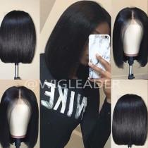 Straight 360 Lace Wigs Brazilian Remy Human Hair Short Bob Wigs 180% density