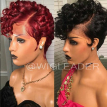 Wig551  Summer Short Bob Black or Red Glueless Human Hair Full Lace Wig/13X6 Lace Wigs/ 360 Wigs  With Baby Hair Pre Plucked Remy Hair