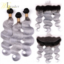 10A 1B/Gray Ombre Color Hair Wefts 3 Bundle with 13*4 Ear to Ear Body Wave Lace Frontal Brazilian Human Hair